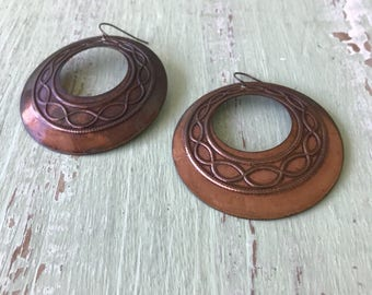 Vintage Copper Hoops, Copper Earrings, Pierced Earrings, Copper Hoops, Vintage Hoops, Copper Jewelry, Vintage Earrings, Hoops, Large Hoops