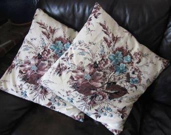 Vintage Barkcloth Pillow Covers 19 x 19
