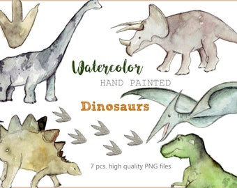 Dinosaurs watercolor Clipart for Scrapbooking kids Party T-Rex Instant Download