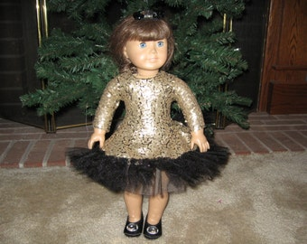"Gold Sequin Party Dress for American Girl & Other 18"" Dolls"
