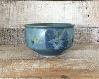 Pottery Bowl Serving Bowl Vintage Homemade Stoneware Bowl Blue Wheel Thrown Bowl Ceramic Fruit Bowl Salad Bowl Studio Pottery Bowl