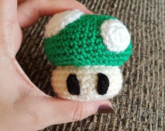 Nintendo 1up inspired crochet mini plush