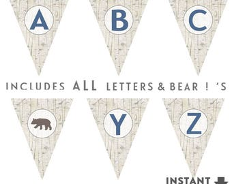 Bear Baby Shower Banner Printable Pennant Banner Bear Baby Shower Decorations Boy Baby Shower Decor Printable // No.947BABY