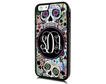Monogrammed iPhone 7 Sugar Skulls Case-iPhone 7 PLUS/Personalized iPhone 7- iPhone 7 PLUS Case