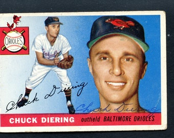 1955 Topps Baseball Chuck Diering #105 Autographed Baltimore Orioles See Scan