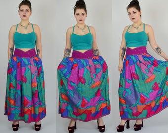 "Jeanne Marc | 32"" - 35"" | 1980s Designer Maxi Skirt 80s Vintage Gypsy Multi Colored Dress"