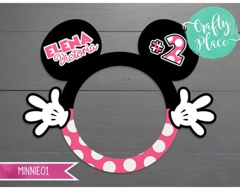 Minnie Mouse birthday photo booth cutout frame prop / Printed and ready to use / Personalized / Oversized frame