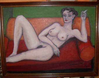 """Wolfgang Eckhardt """"Act"""" 1999 signed oil / wood, 83 x 64 cm"""