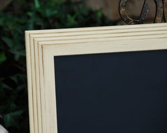 Shabby cottage chic chalkboard: Vintage white 8.5x11 hand-painted decorative framed menu message board sign for the home