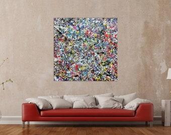 Modern abstract artwork in XXL by Alexander Zerr acrylic on canvas 120x120cm #791