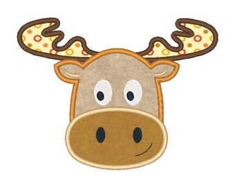 Moose Machine Embroidery Design Animal Embroidery Designs Moose Applique 4X4 5X7 6X10 8X8 Instant Download