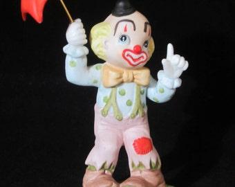 Lefton China Clown Figurine - Stamped 01881 hand-painted. Clown holds reddish-orange umbrella.  Collectible vintage piece. Valentine's Gift!