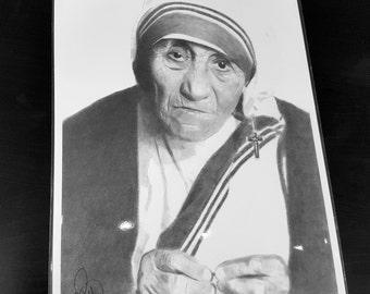 Mother Theresa pencil drawing