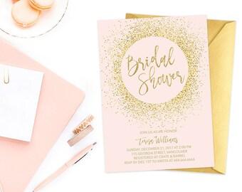 Pink Gold Bridal Shower Invitation, Blush Gold Glitter Bridal Shower Invitation, Bridal Shower Invite, Pink Gold Bridal Shower Invite
