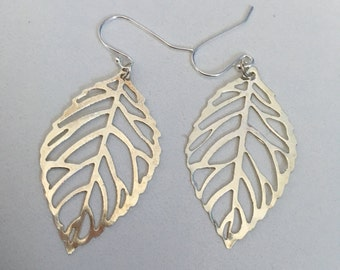 Silver leaf 3cm earrings