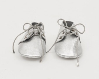Genuine Leather Mac&Lou Baby Toddler Moccasins Babies Booties Shoes Baby Shower Gift Christmas Gift Silver