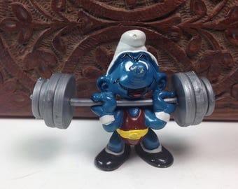 Vintage Weightlifter Super Smurf Figure 40507