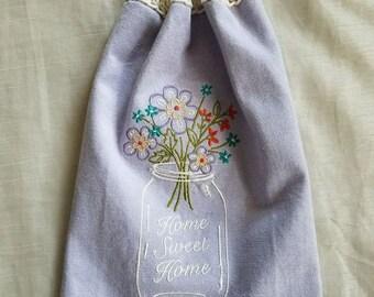 Crochet Kitchen Towel,Mason Jar Embroidered Hand Towel,Lavender Towel,Hand Towel,Bath Hand Towel,Wedding Gift,Crochet Gift,Ready to ship