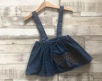 Baby Denim Skirt | Blue Denim Skirt | Skirt with braces | Heart Pattern Skirt | Baby Girls Skirt