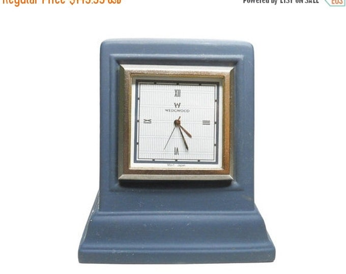 Storewide 25% Off SALE Vintage Wedgewood Portland Blue Quartz Interior Range Mantle Clock Featuring Rectangular Silver Trimmed White Bezel