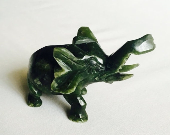 Storewide 25% Off SALE Vintage Hand Carved Natural Jade Standing Elephant Featuring Deep Green Color With Highly Detailed Finish
