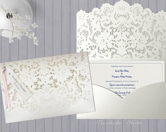 Luxurious and Elegant Laser Cut Lace Pocket Fold Wedding Invitation with Personalised Tag 'Issy' Sold in the UK | Blush Pink | Gold | Ivory