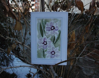 Narcissus card/Paintings on Silk-Batik/Personalised Daffodils Card/Daffodil Mother's Day Card/Spring Flower Card/Daffodil Gift Card/ Garden
