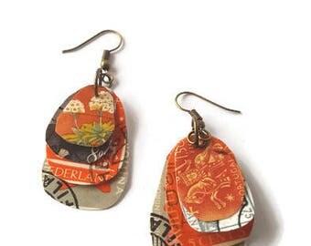 Orange and grey stamp earrings, steampunk earrings, dangle earrings, stamp collector, steampunk jewellery, postage stamp, upcycled, OOAK