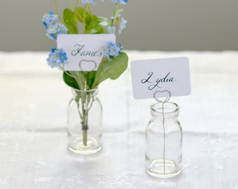 Set Of 4 Wedding Name Place Card Holder Vintage Style Bud Vase | Table Number Holder