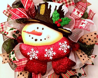 Limited quantities!! Winter wreath, Snowman wreath, Christmas wreath, primitive winter wreath, decomesh winter wreath, holiday wreath