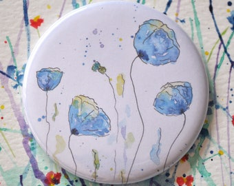 Watercolor Pocket Mirror, Poppy Watercolor Mirror, Floral Mirror, Small Mirror, Watercolor Flower, Gift for Her, Wedding Favour
