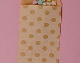 Kraft Small Dot paper bags, 10 count, kraft dots on white