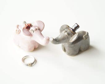 Elephant Cake Topper, Wedding Cake Topper, Ceramic Cake Topper by Her Moments