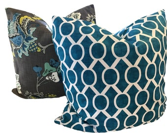 Turquoise Pillow Cover Blue White Geometric Pillow Ikat Pillow Sydney Slub Accent Pillow 18x18 20x20 22 x 22 Pillow Covers ONE