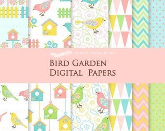 Bird / Bird Garden / Bird House / Flower / Garden Fence Digital Paper Pack - Instant Download - DP101