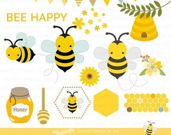 Honey Bee Clip Art - Instant  Download - CA035