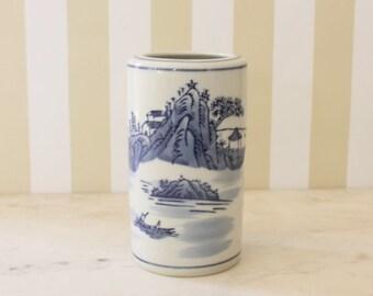 Blue and White Utensil Crock / Vase