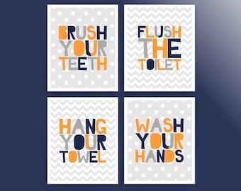 boy bathroom art prints kids bathroom rules orange navy bathroom signs printable bathroom decor cc059