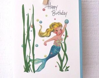 Happy Birthday Mermaid Greeting Card by writeables