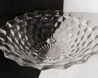 Fostoria American Footed Bowl Centerpiece 3-Toed Crystal Glass Tiny Damage