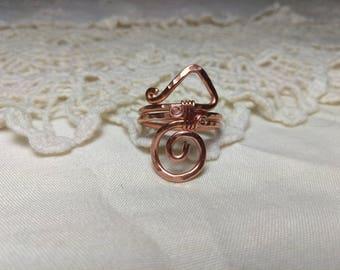Copper Swirl Ring Size 8