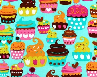 Cake Cotton Michael Miller Sweet Treats 100% Cotton Fabric cupcake food patterned kitchen material FQ 1/2 Full Metre