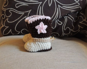 Crochet Cowboy Booties, Luv Beanies, Baby Booties, Cowgirl booties, Newborn booties, Baby Shoes, Baby Boots, Baby Girl Booties