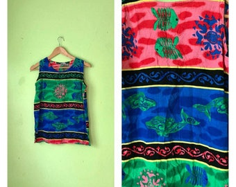 SALE Vintage TIE DYE shirt hippie tank top 1990s tropical aquatic batik shirt fish whales boho clothing festival clothing womens Small