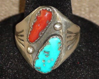 Native American Navajo Sterling Silver Turquoise Coral Ring Size 10.5