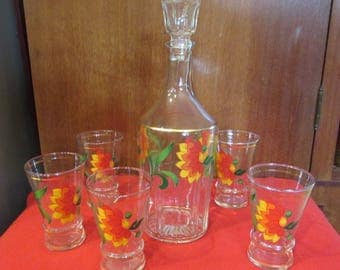 Vintage Carafe with stopper and five glasses