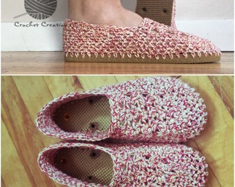 Crochet Flip Flop Slippers - indoor/Outdoor Shoes - Women's 7/8 - Barnyard Twists, Tan Soles