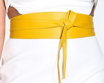 Yellow Soft Leather Obi Belt | Waist Obi Belt | Leather tie belt | Real Leather Belt | Plus size belts| Obi Sash Belts
