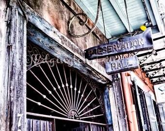 Preservation Hall photo, New Orleans Photo, travel photo, architecture photo, urban decor, rustic art, NOLA, rustic decor, New Orleans art