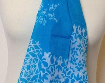 Turquoise scarf - turquoise blue scarf - turquoise wrap - white snowflake print scarf - in 100% cotton